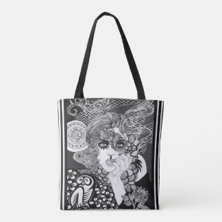 Vintage smoking woman tote bag