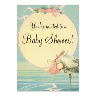 Vintage Stork Baby Girl Pink Blanket Baby Shower 13 Cm X 18 Cm Invitation Card