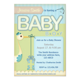 Vintage Stork Baby Shower Invitation