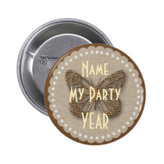 Vintage Style Golden Butterfly Party Badge