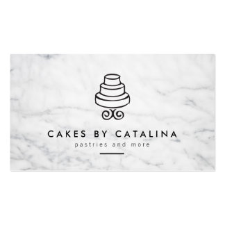 Vintage Tiered Cake Design on White Marble Bakery Pack Of Standard Business Cards