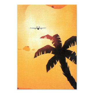 Vintage Travel, Airplane Over Hawaiian Islands 9 Cm X 13 Cm Invitation Card