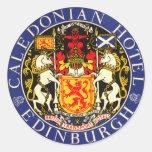 Vintage Travel Caledonian Hotel Edinburgh Scotland Round Sticker