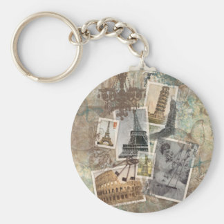 Vintage Travel Europe Photographs Paris Basic Round Button Key Ring
