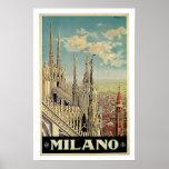 Vintage Travel,Milano Italy Poster