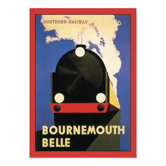 Vintage Travel Poster, Bournemouth Belle Train 13 Cm X 18 Cm Invitation Card