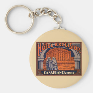 Vintage Travel Poster, Casablanca, Morocco, Africa Basic Round Button Key Ring