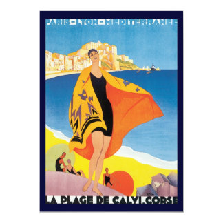 Vintage Travel, Summer Beach with Woman at Calvi 13 Cm X 18 Cm Invitation Card