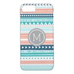 Vintage Tribal Stripes Pattern Coral Blue Monogram iPhone 7 Case