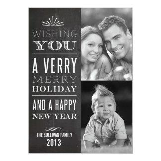 Vintage Typography Chalkboard Holiday Photo Card 13 Cm X 18 Cm Invitation Card