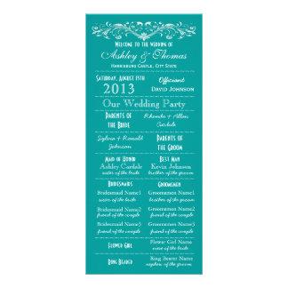 Vintage Typography Style Teal Wedding Programs Rack Card Template