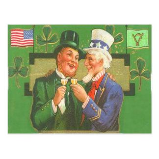 Vintage Uncle Sam Leprechaun St Patrick's Day Card Postcard