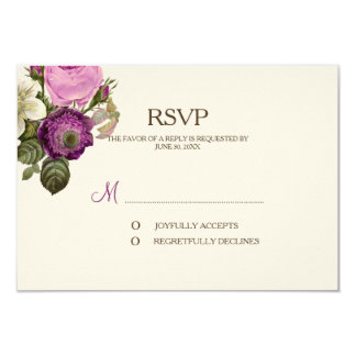 Vintage Victorian Botanical Plum RSVP Reply Card 9 Cm X 13 Cm Invitation Card