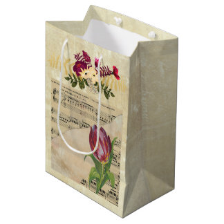 Vintage Victorian Music Romance Tulips Gift Bag Medium Gift Bag