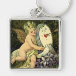 Vintage Victorian Valentines Day, Angel Love birds Silver-Colored Square Key Ring