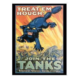 Vintage War Postcards, Vintage Tank Poster Postcard
