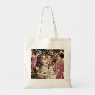 Vintage Wedding Bride Groom Newlyweds Cut Cake Budget Tote Bag