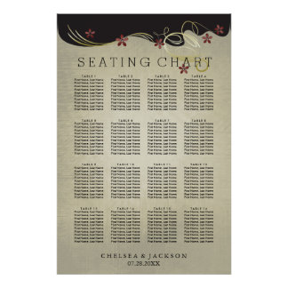 Vintage Wedding Gold Swirls & Red  - Seating Chart Poster