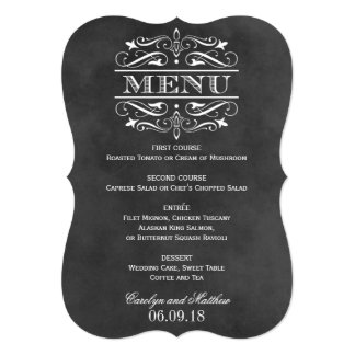 Vintage Wedding Menu Card | Chalkboard Flourish 13 Cm X 18 Cm Invitation Card