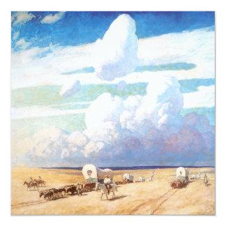Vintage Western Cowboys, Covered Wagons by Wyeth 13 Cm X 13 Cm Square Invitation Card