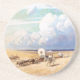 Vintage Western Cowboys, Covered Wagons by Wyeth Beverage Coaster