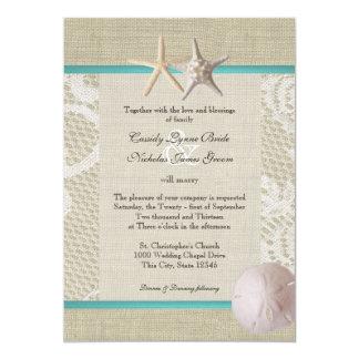 Vintage White Lace Ocean Romance 13 Cm X 18 Cm Invitation Card