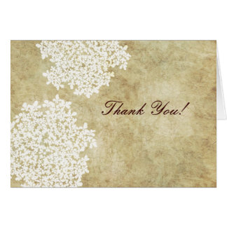 Vintage White Queen Ann's Lace Thank You Greeting Card