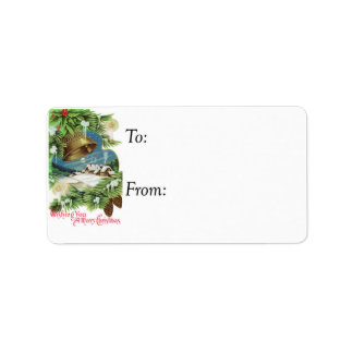 Vintage Wishing You a Merry Christmas Gift Tag Address Label