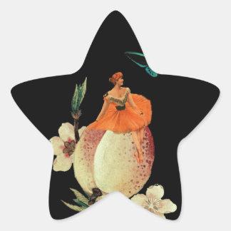 Vintage Woman Flower Dark Grunge Star Sticker