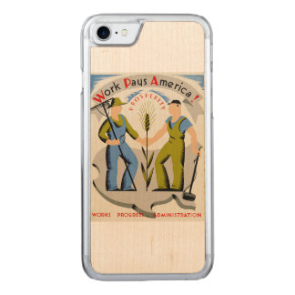 Vintage Work Pays America WPA Poster Carved iPhone 7 Case