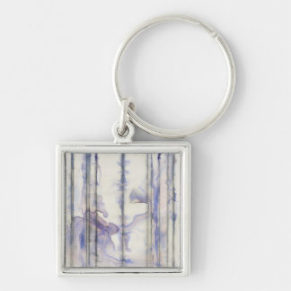 Violet Free Expression Watercolor Silver-Colored Square Key Ring