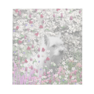 Violet in Flowers – White Westie Dog Note Pad