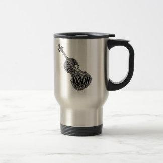 Violin Shaped Word Art Black Text Stainless Steel Travel Mug
