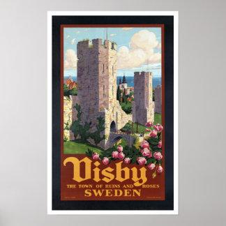 Visby Sweden - Vintage Travel Poster