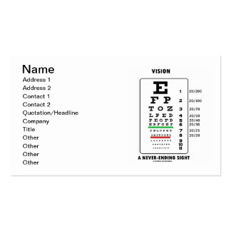Vision A Never-Ending Sight (Snellen Chart) Pack Of Standard Business Cards