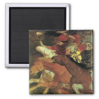 War by Arnold Bocklin, Vintage Symbolism Fine Art Square Magnet