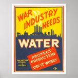 War Industry Water WWII 1943 WPA Poster