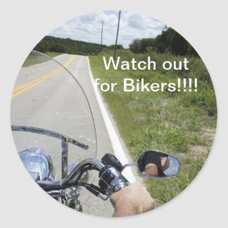 Watch out for Bikers Round Sticker