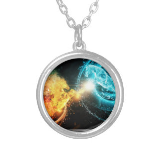 Water and fire horses round pendant necklace