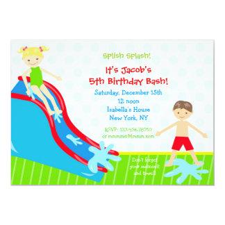 Water slide Waterslide Birthday Invitations