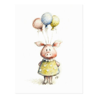 Watercolor and pencil drawing of pig with balloons postcard