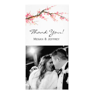 Watercolor Cherry Blossom Personalized Photo Card