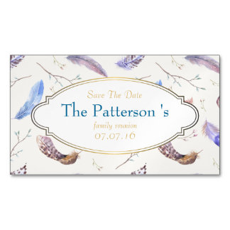 Watercolor Feathers Family Reunion Save The Date Magnetic Business Cards