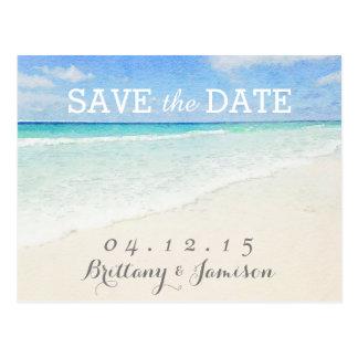 Watercolor Ocean   Beach Save the Date Postcard