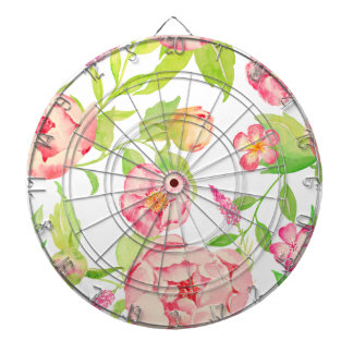 Watercolor pink peony pattern dartboard with darts