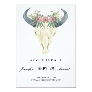 Watercolor Rustic Rodeo | Save the Date Roses 13 Cm X 18 Cm Invitation Card