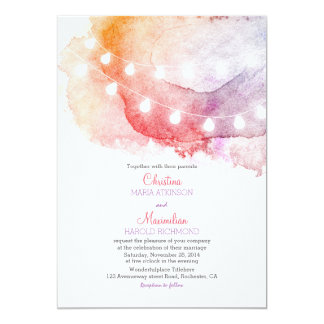watercolor string lights elegant wedding 13 cm x 18 cm invitation card