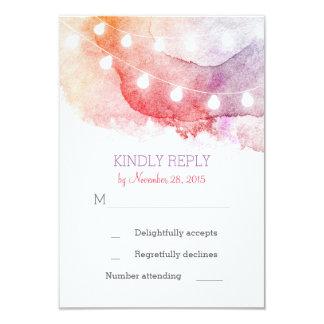 watercolor string lights RSVP cards 9 Cm X 13 Cm Invitation Card