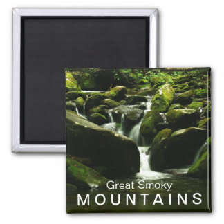 Waterfall on Roaring Fork Trail - Great Smoky Mtns Square Magnet