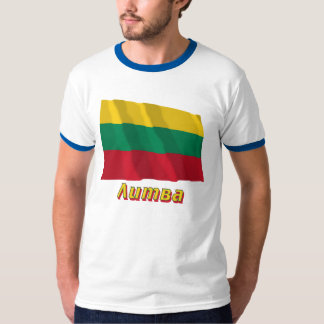 Waving Lithuania Flag with name in Russian Tee Shirt